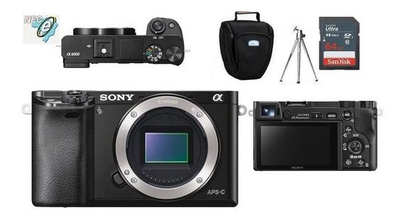 Sony Alpha A6000 Corpo + Bolsa + Tripé + 64gb Classe 10. Garantia 12 Meses Com Nf, Loja Física