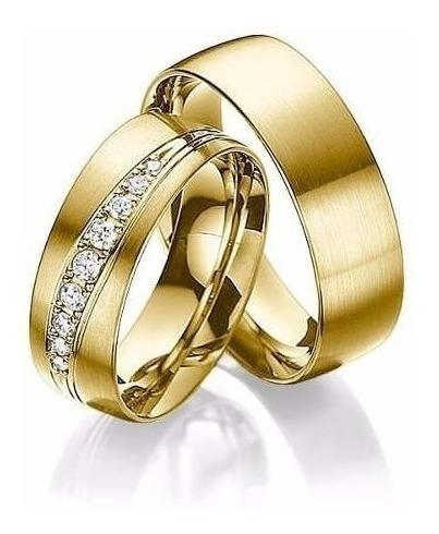 Par Aliança Casamento Em Prata 950 Revestida Com Ouro 18k