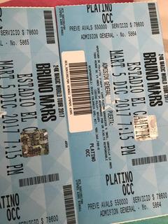 Boletas Bruno Mars Platino Occidental 24k Magic World Tour