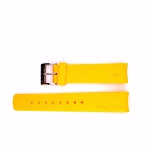 Pulseira Relógio Náutica 22mm Amarela E Azul