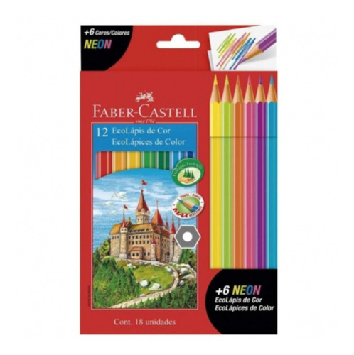 Lápices Faber Castell 12 Colores + 6 De Neon - Mosca