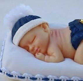15 Bebe Em Biscuit Menino Azul Marinho Com Coroa Em Metal