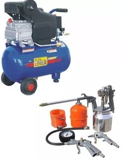 Combo Compresor 50 Litros Motor 2 Hp Bta + Kit 5 Piezas Tyt