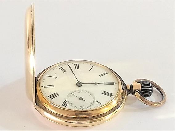 Relógio De Bolso Union 50 Mm Caçador Ouro 14 K 585 Raro