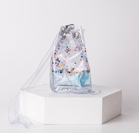 Bolso Bucket Transparente Pvc Liquido Confetti Colores