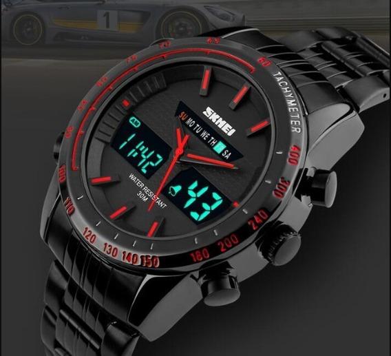 Relógio Masculino Original De Luxo - Preto E Vermelho