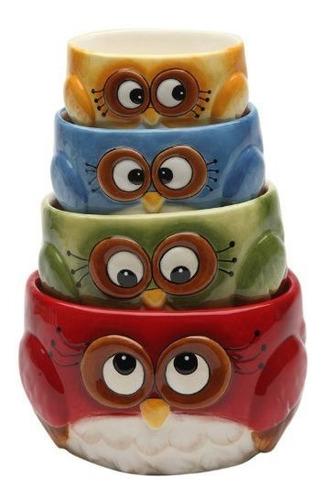 Cosmos Gifts Taza De Medicion Set Owl Design Rojo Verde Azul