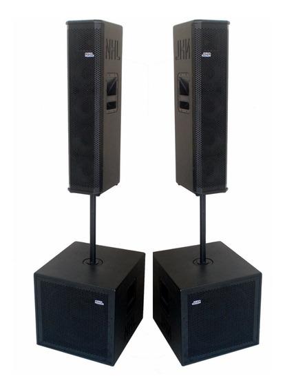 Kit Sonorização Ativo 4 Caixas Sub Line Array 2600w Mod 2019