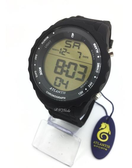 Relógio Atlantis Digital Sport Prova D´água Serie Prata