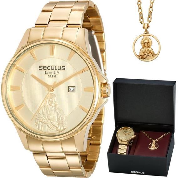 Kit Relógio Seculus Masculino Com Colar Jesus 28919gpskda1k1