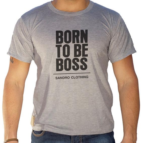 Camiseta Masculina Sandro Clothing Born To Be Boss Cinza