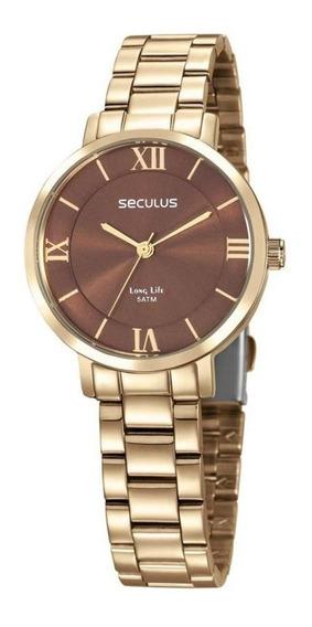 Relógio Seculus Feminino 28959lpsvda1 Dourado