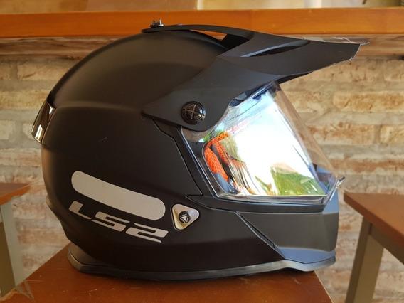 Capacete Moto Off Road Ls2 Mx 436 Preto Fosco Viseira Solar