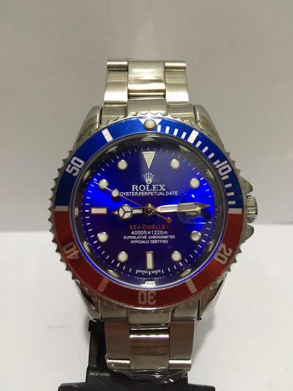 Relógio Submariner Silver Blue Com Catraca Blue Red