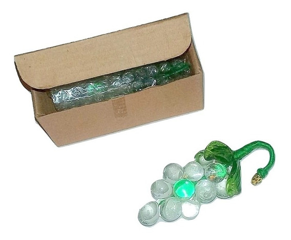 Silant Caireles. Oferta! 6 Racimos De Uvas Vidrio Soplado Color Transparente Y Verde.60 Mm X 30 Mm C/ Caja.arañas..deco