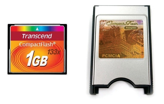 Kit Cartão Compact Flash Cf 1gb Transcend + Pcmcia Universal