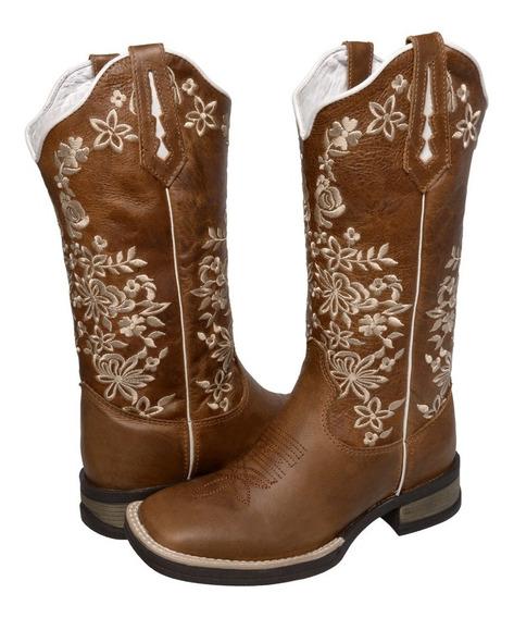 Botina Texana Feminina Bordada Confortavel Lançamento 2020
