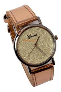 Reloj Glitter Brillo Estilo Charol Modelo Diseño Exclusivo