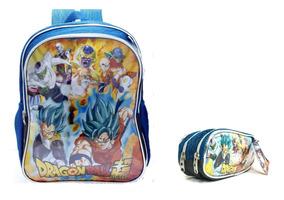 Mochila Escolar Dragon Ball + Estojo + Super Caderno Dbz