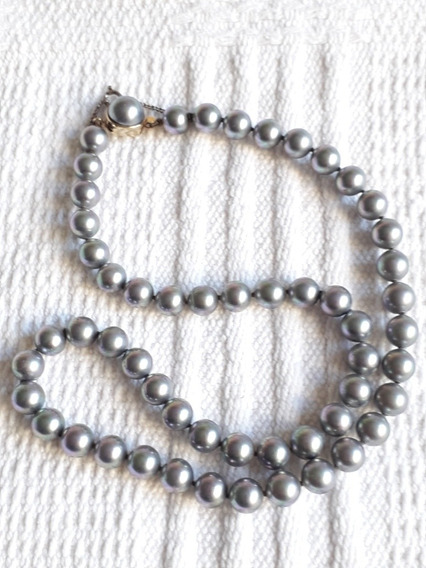 Antigo Colar De Pérolas Cinzas Prata 925 Com Ouro 18k