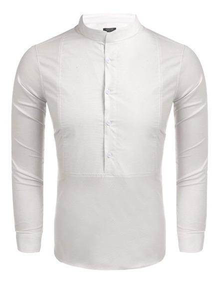 Hombres Stand Collar Botón Sólido Suéter Casual Camisa De
