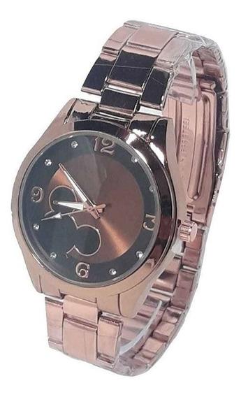 Relógio Feminino Redondo Mickey Minnie Cobre