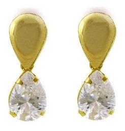 Brinco Pedra Luxo Pendente Gota Ouro Amarelo 750 18k J19212