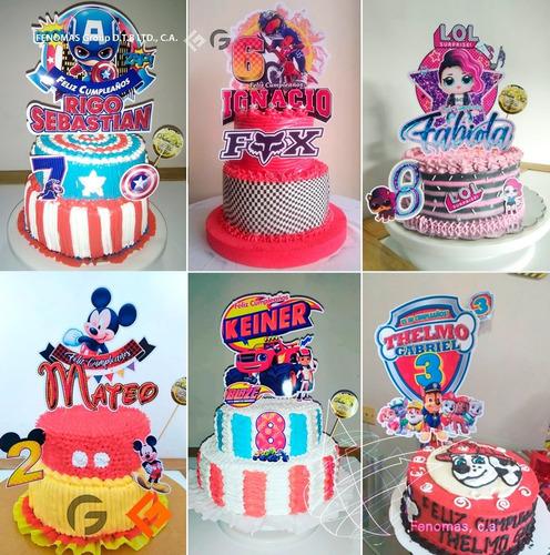Toppers Para Tortas Mini Cupcake Y Afiches Personalizados