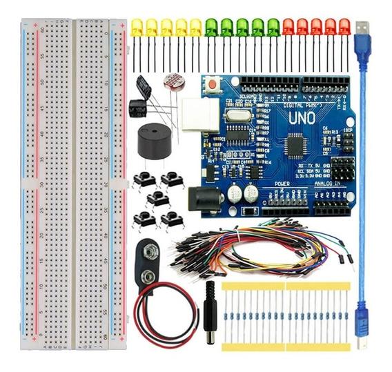 Kit Uno R3 Iniciante 90pcs + Protoboard Para Arduino