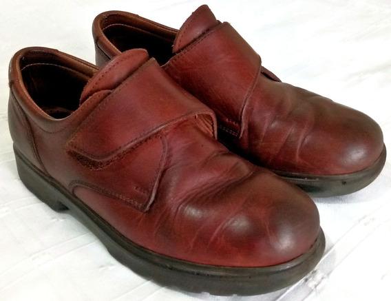 Zapatos Cuero Marrón Escolar Fb Talle 33 Abrojos Suela Goma