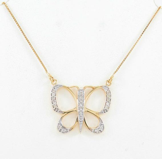 Esfinge Jóias - Corrente Borboleta Com Diamantes Ouro 18k750
