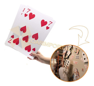 30 Naipes Cartas De Poker Gigantes Alicia 20x29cm