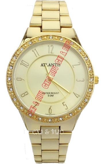 Relogio Atrantis Dourado Redondo Feminino Com Diamante G3452