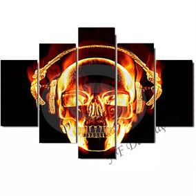 Quadro Caveira Skull Fogo Musica Fone De Ouvido 06mmmdf