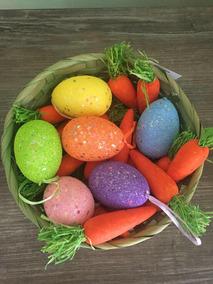 Ovos E Cenouras Para Decoração De Páscoa - Kit 2 Itens
