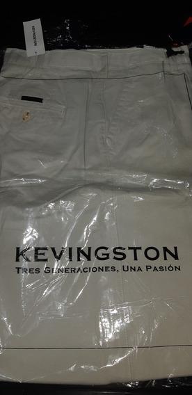 Pantalón Pinzado Kevingston Gabardina Recto Beige Nuevo
