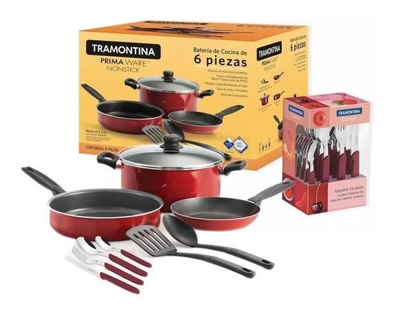 Bateria De Cocina Primaware 22 Pzs Roja Cubiertos Tramontina
