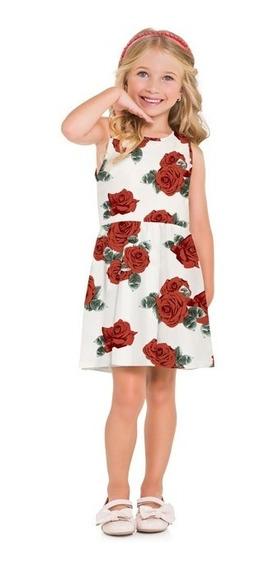 Vestido Milon Roupa Infantil Floral Verão Regata Tam 6 E 8