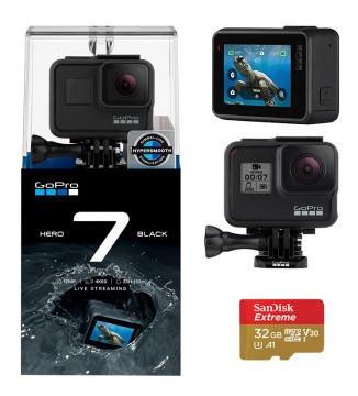 Câmera Gopro Hero7 Black + Cartão 32gb + Kit De Assessórios