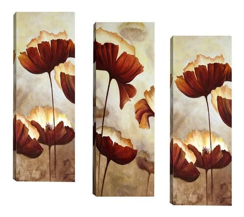 Imagem 1 de 6 de Trio De Quadros Sala Quarto Corredor Flores Marrom 20x60