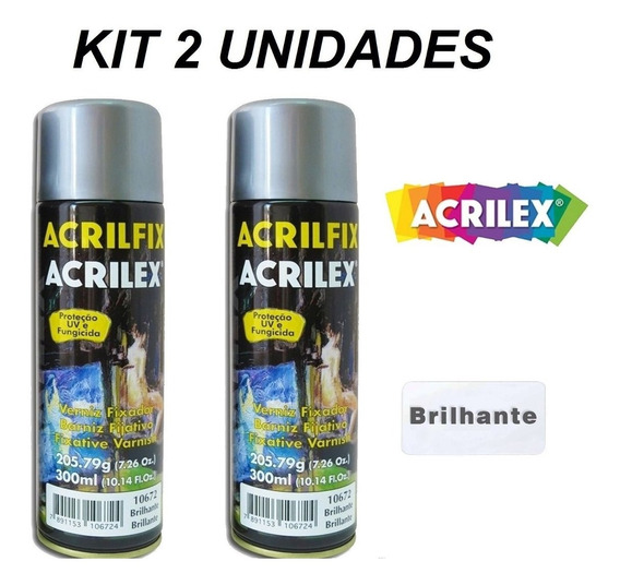 Kit 2 Verniz Fixador Spray 300 Ml Brilhante Acrilfix Acrilex