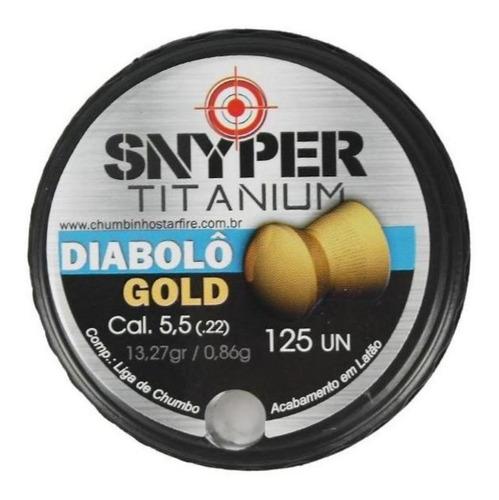 Imagem 1 de 2 de Chumbinho Snyper Titanium Diabolô Calibre 5,5mm Gold 125 Und
