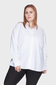 Camisa Evasê 100% Algodão Plus Size Branco-58