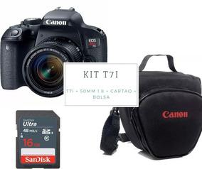Câmera P/youtuber Canon Eos T7i Kit 18x55+16gigas + Bolsa