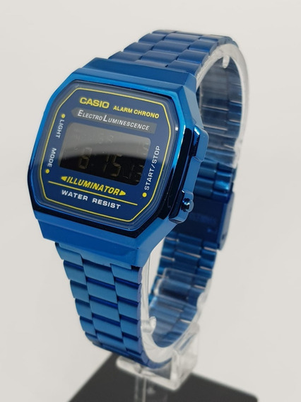 Reloj Casio Mini Azúl Metalico Vintage Retro A168
