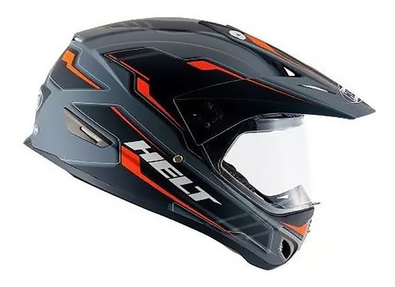 Capacete Helt Cross Vision Triller Orange Fosco Original