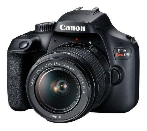 Canon EOS Rebel T100 18-55mm IS II Kit DSLR cor preto