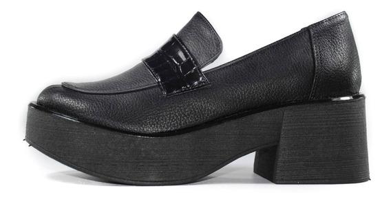 Creeper Zapatos Mocasín Mujer Dama Cuero Eco Charol Bajo