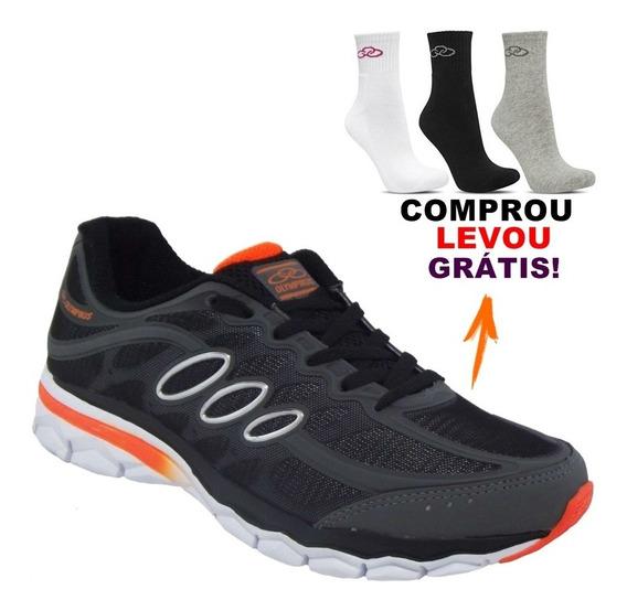 Tenis Olympikus Stereo Chumbo/laranja - (n°43) Sapato Academia Caminhada