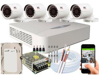 Kit Cftv 4 Câmeras Jfl Chd-1130p Multi Hd 720p 1mp Dvr 04 Ch
